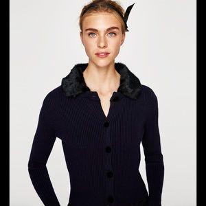 ZARA Ribbed Cardigan w/ Faux Fur Removable Collar